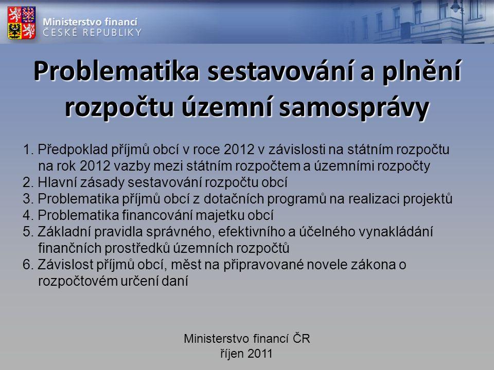 Problematika sestavování a plnění rozpočtu územní samosprávy Ministerstvo financí ČR říjen 2011 1.