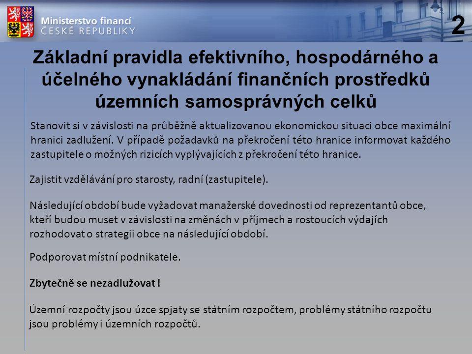 Základní pravidla efektivního, hospodárného a účelného vynakládání finančních prostředků územních samosprávných celků Zajistit vzdělávání pro starosty, radní (zastupitele).