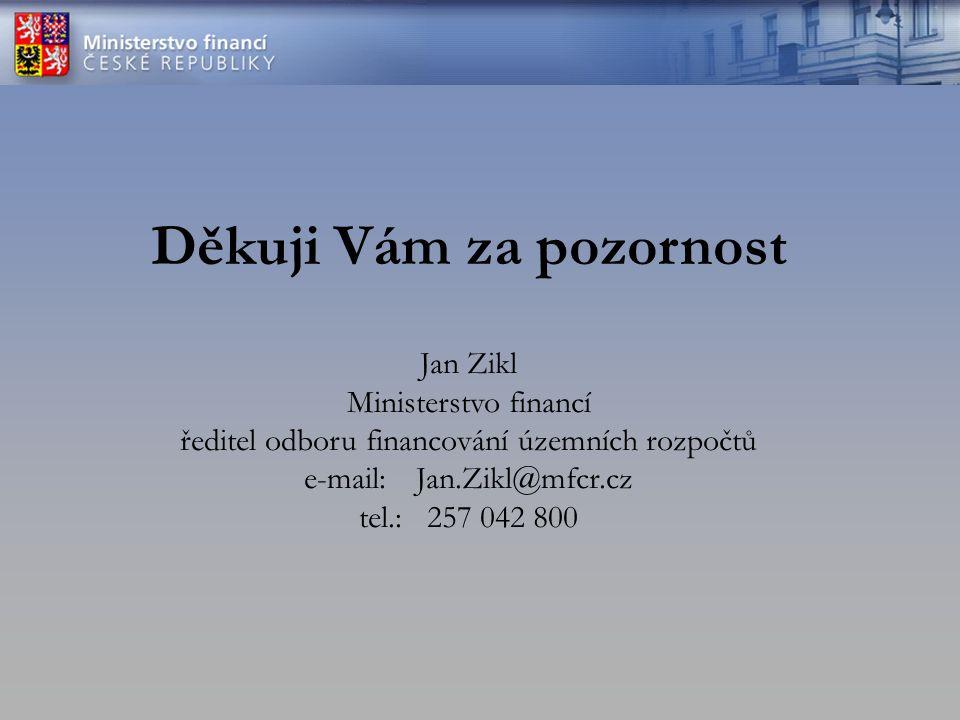 Děkuji Vám za pozornost Jan Zikl Ministerstvo financí ředitel odboru financování územních rozpočtů e-mail: Jan.Zikl@mfcr.cz tel.: 257 042 800