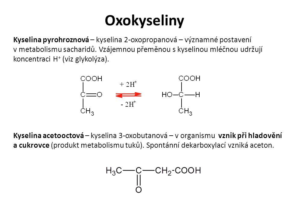 Oxokyseliny Kyselina acetooctová – kyselina 3-oxobutanová – v organismu vznik při hladovění a cukrovce (produkt metabolismu tuků).