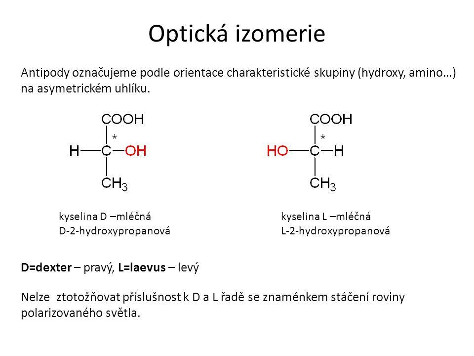 Optická izomerie Antipody označujeme podle orientace charakteristické skupiny (hydroxy, amino…) na asymetrickém uhlíku.