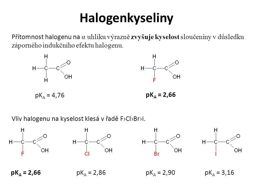 Halogenkyseliny Přítomnost halogenu na α uhlíku výrazně zvyšuje kyselost sloučeniny v důsledku záporného indukčního efektu halogenu.