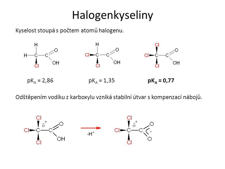 Halogenkyseliny Nukleofilní substituce probíhá snadno za vzniku α substituovaných kyselin.