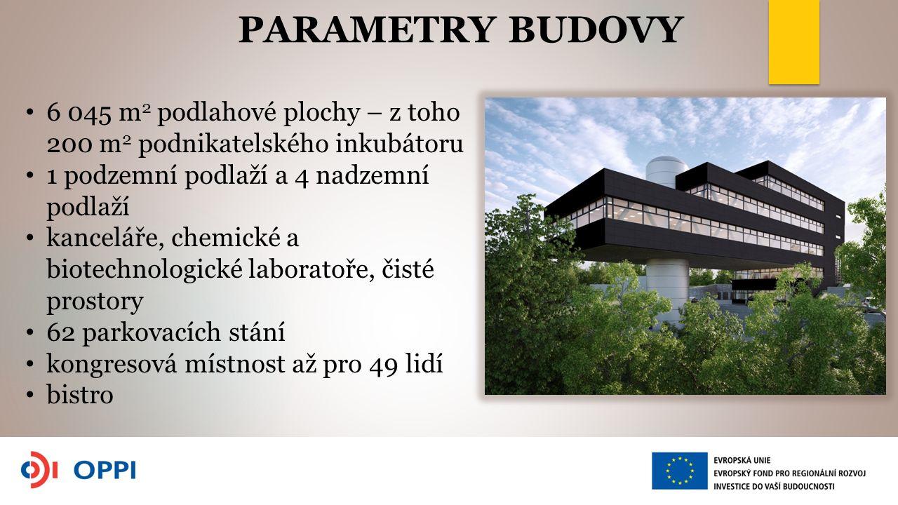 STRUKTURA BUDOVY Prostory k pronájmuPlocha Kancelářské prostory2002 m2 Laboratoře chemické446 m2 Laboratoře biologické1172 m2 Zasedací místnosti68 m2 Společné prostory1426 m2