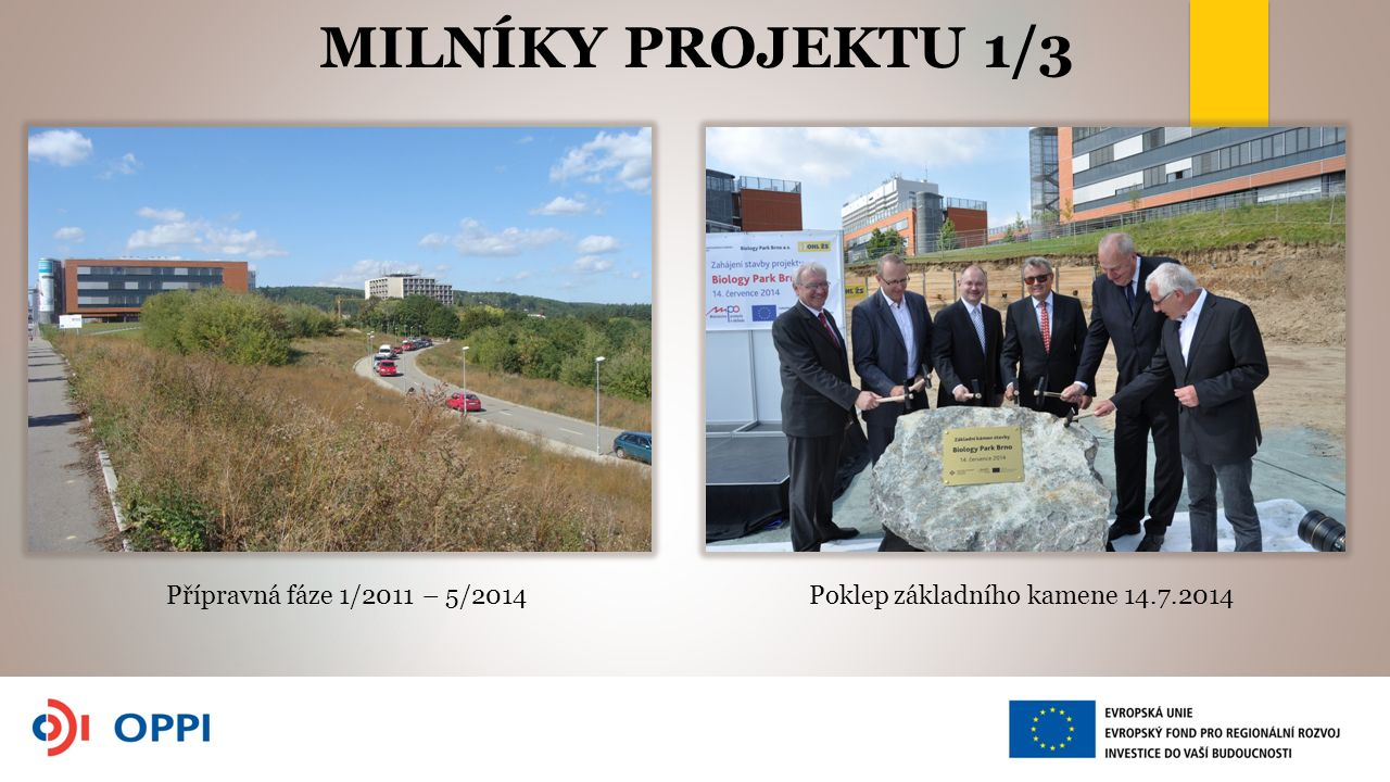 MILNÍKY PROJEKTU 1/3 Poklep základního kamene 14.7.2014Přípravná fáze 1/2011 – 5/2014
