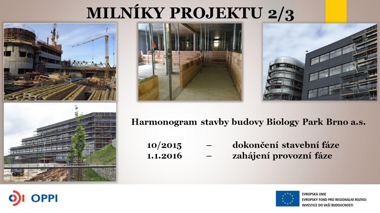 MILNÍKY PROJEKTU 2/3 Harmonogram stavby budovy Biology Park Brno a.s.