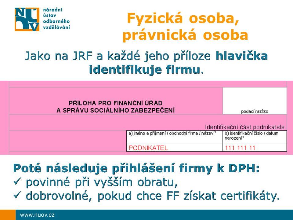 Fyzická osoba, právnická osoba Jako na JRF a každé jeho příloze hlavička identifikuje firmu.