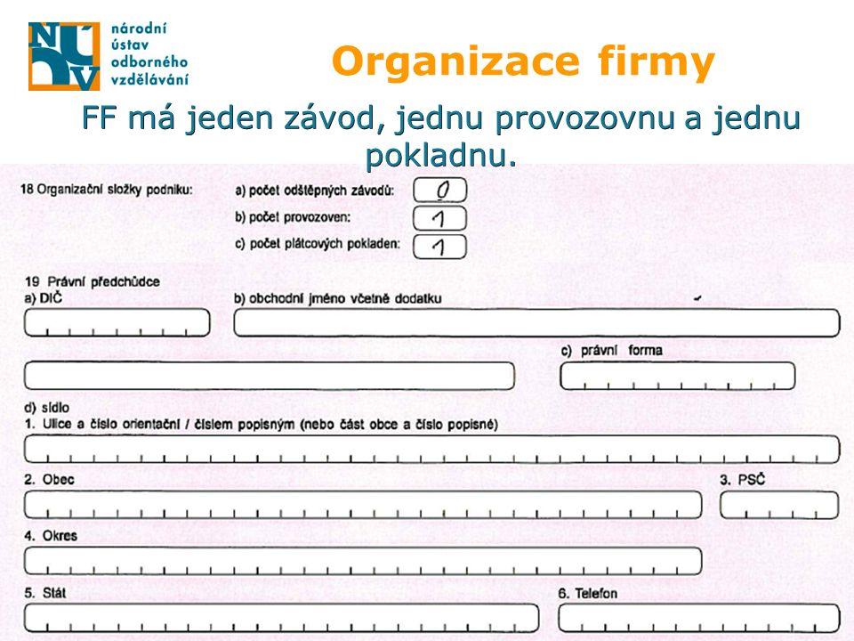 Organizace firmy FF má jeden závod, jednu provozovnu a jednu pokladnu.