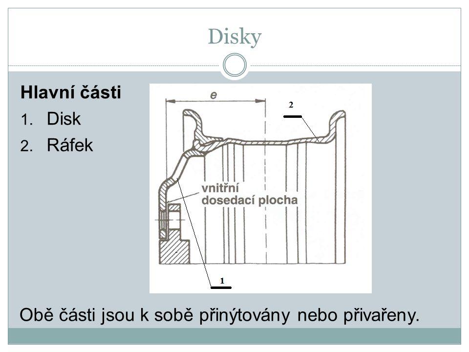 Disky Hlavní části 1. Disk 2. Ráfek Obě části jsou k sobě přinýtovány nebo přivařeny.