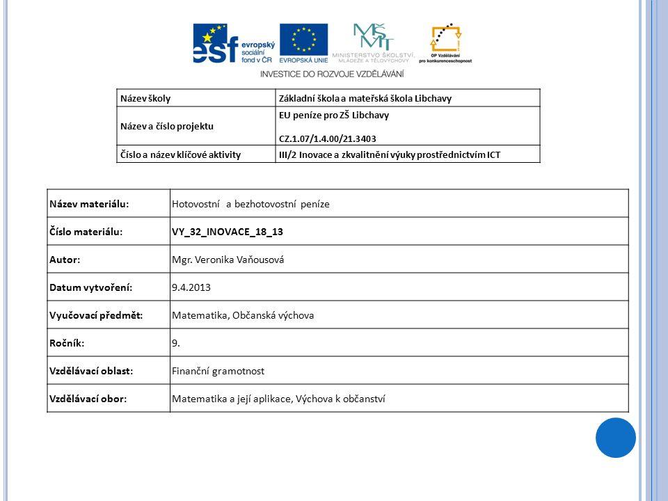 Název školyZákladní škola a mateřská škola Libchavy Název a číslo projektu EU peníze pro ZŠ Libchavy CZ.1.07/1.4.00/21.3403 Číslo a název klíčové aktivityIII/2 Inovace a zkvalitnění výuky prostřednictvím ICT Název materiálu:Hotovostní a bezhotovostní peníze Číslo materiálu:VY_32_INOVACE_18_13 Autor:Mgr.