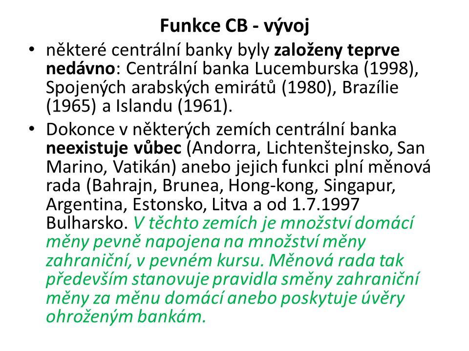 Funkce CB - vývoj některé centrální banky byly založeny teprve nedávno: Centrální banka Lucemburska (1998), Spojených arabských emirátů (1980), Brazílie (1965) a Islandu (1961).