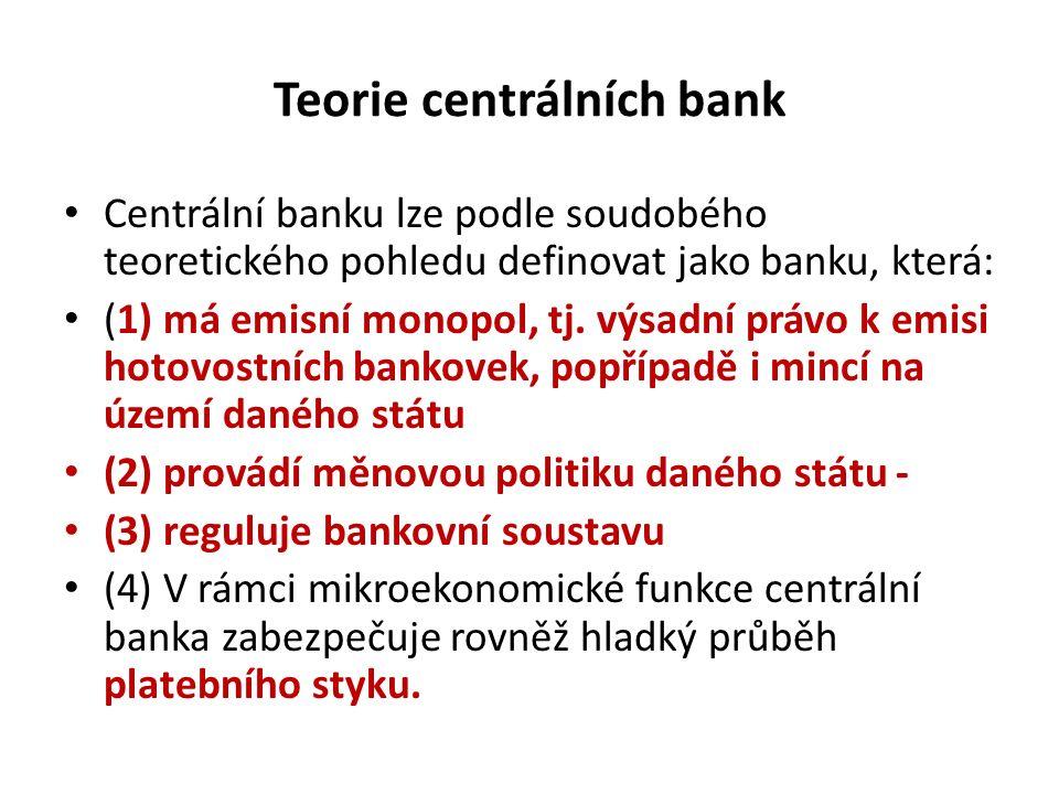 Teorie centrálních bank Centrální banku lze podle soudobého teoretického pohledu definovat jako banku, která: (1) má emisní monopol, tj. výsadní právo