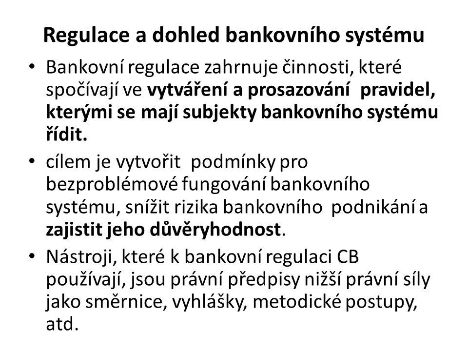 Regulace a dohled bankovního systému Bankovní regulace zahrnuje činnosti, které spočívají ve vytváření a prosazování pravidel, kterými se mají subjekty bankovního systému řídit.