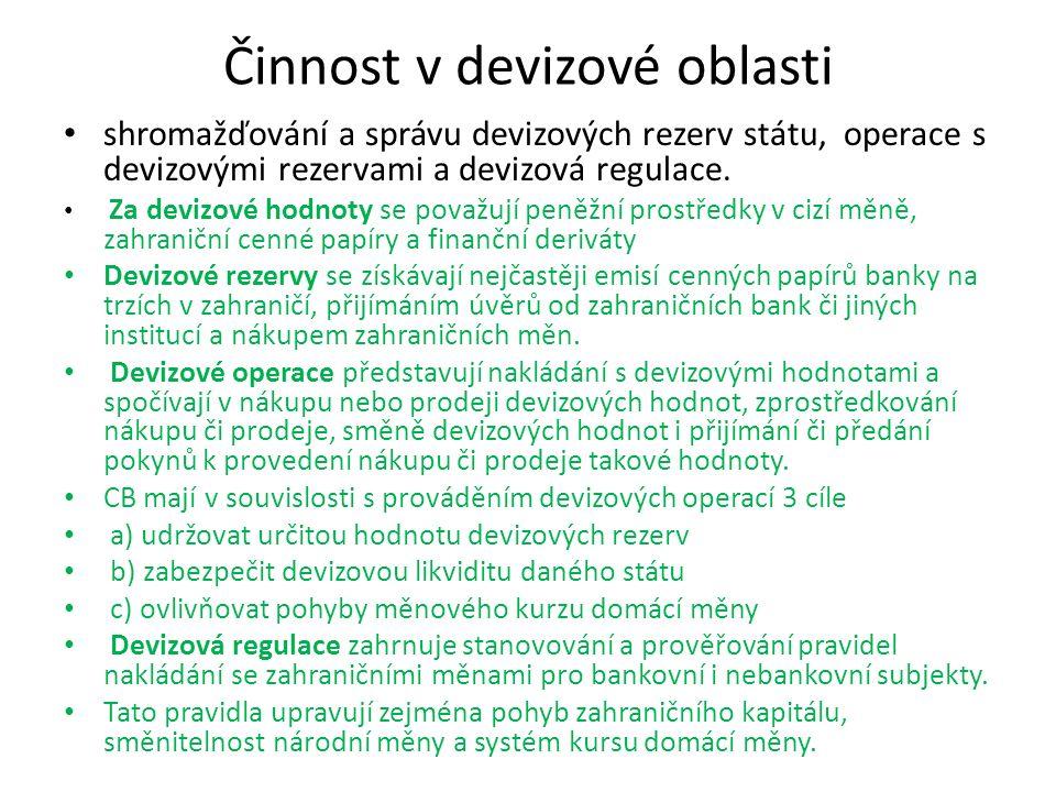 Činnost v devizové oblasti shromažďování a správu devizových rezerv státu, operace s devizovými rezervami a devizová regulace. Za devizové hodnoty se