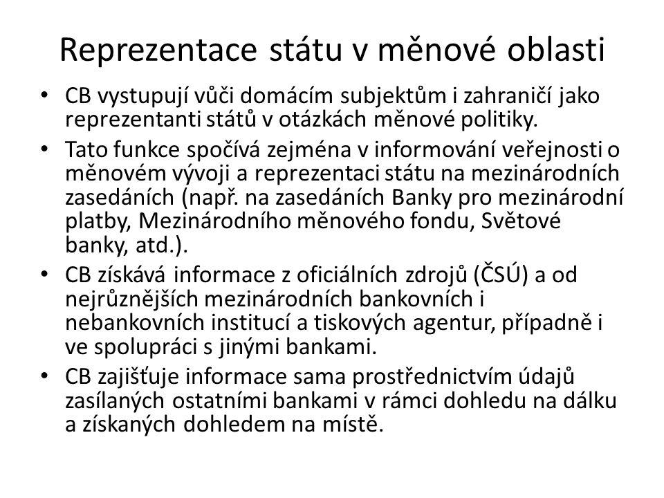 Reprezentace státu v měnové oblasti CB vystupují vůči domácím subjektům i zahraničí jako reprezentanti států v otázkách měnové politiky. Tato funkce s