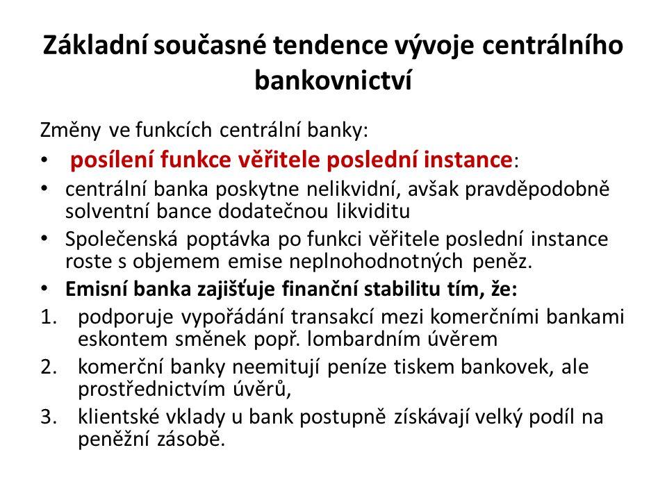 Základní současné tendence vývoje centrálního bankovnictví Změny ve funkcích centrální banky: posílení funkce věřitele poslední instance : centrální b