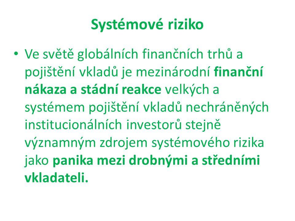Systémové riziko Ve světě globálních finančních trhů a pojištění vkladů je mezinárodní finanční nákaza a stádní reakce velkých a systémem pojištění vk