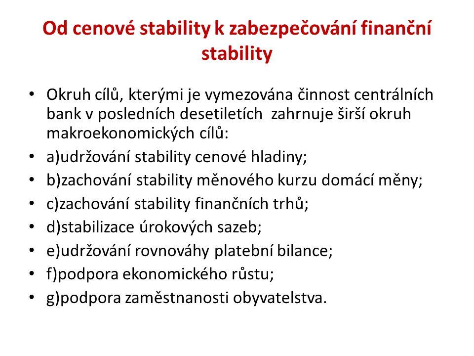 Od cenové stability k zabezpečování finanční stability Okruh cílů, kterými je vymezována činnost centrálních bank v posledních desetiletích zahrnuje š