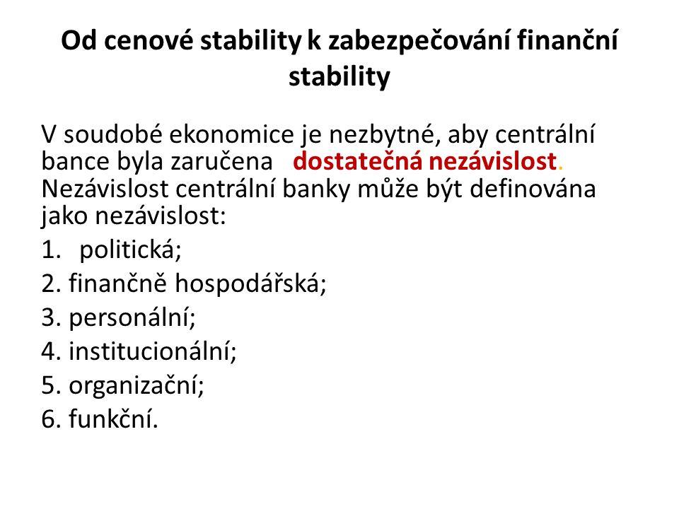 Od cenové stability k zabezpečování finanční stability V soudobé ekonomice je nezbytné, aby centrální bance byla zaručena dostatečná nezávislost. Nezá