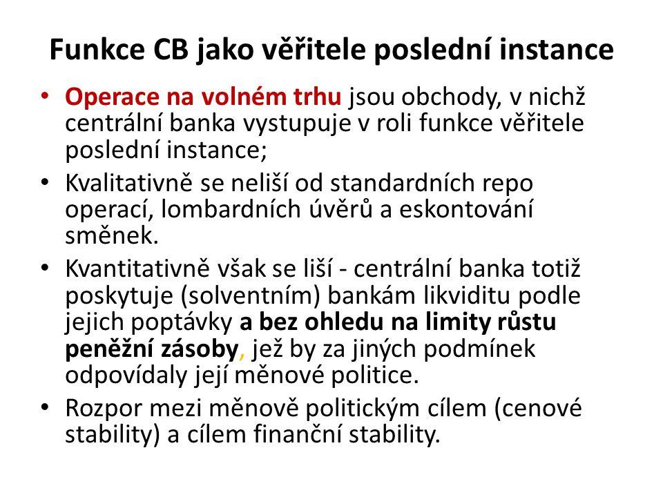 Funkce CB jako věřitele poslední instance Operace na volném trhu jsou obchody, v nichž centrální banka vystupuje v roli funkce věřitele poslední instance; Kvalitativně se neliší od standardních repo operací, lombardních úvěrů a eskontování směnek.
