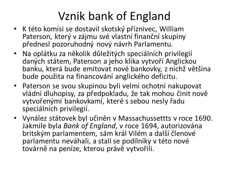 Vznik bank of England K této komisi se dostavil skotský příznivec, William Paterson, který v zájmu své vlastní finanční skupiny přednesl pozoruhodný nový návrh Parlamentu.