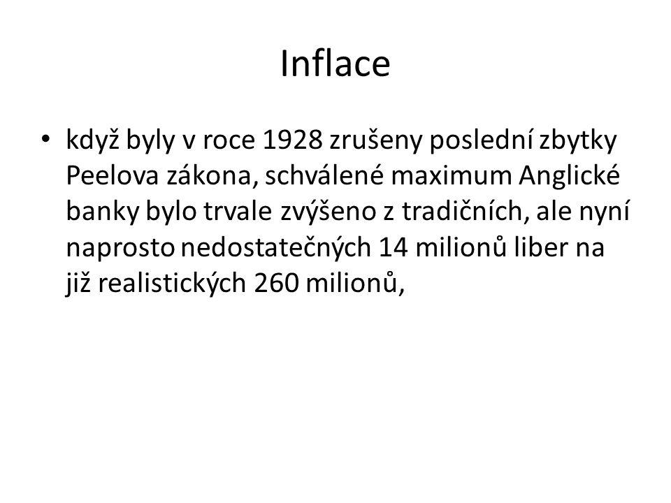 Inflace když byly v roce 1928 zrušeny poslední zbytky Peelova zákona, schválené maximum Anglické banky bylo trvale zvýšeno z tradičních, ale nyní naprosto nedostatečných 14 milionů liber na již realistických 260 milionů,