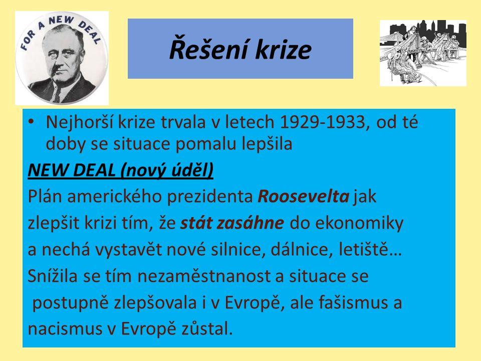 Řešení krize Nejhorší krize trvala v letech 1929-1933, od té doby se situace pomalu lepšila NEW DEAL (nový úděl) Plán amerického prezidenta Roosevelta jak zlepšit krizi tím, že stát zasáhne do ekonomiky a nechá vystavět nové silnice, dálnice, letiště… Snížila se tím nezaměstnanost a situace se postupně zlepšovala i v Evropě, ale fašismus a nacismus v Evropě zůstal.