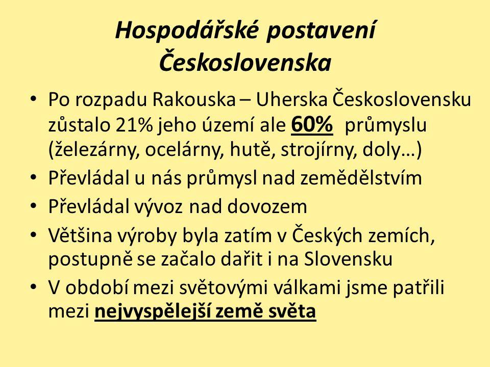K rozvoji pomohla také Pozemková a Měnová reforma Nově zavedená Koruna československá si držela svoji hodnotu a cizí země se proto nebály u nás investovat