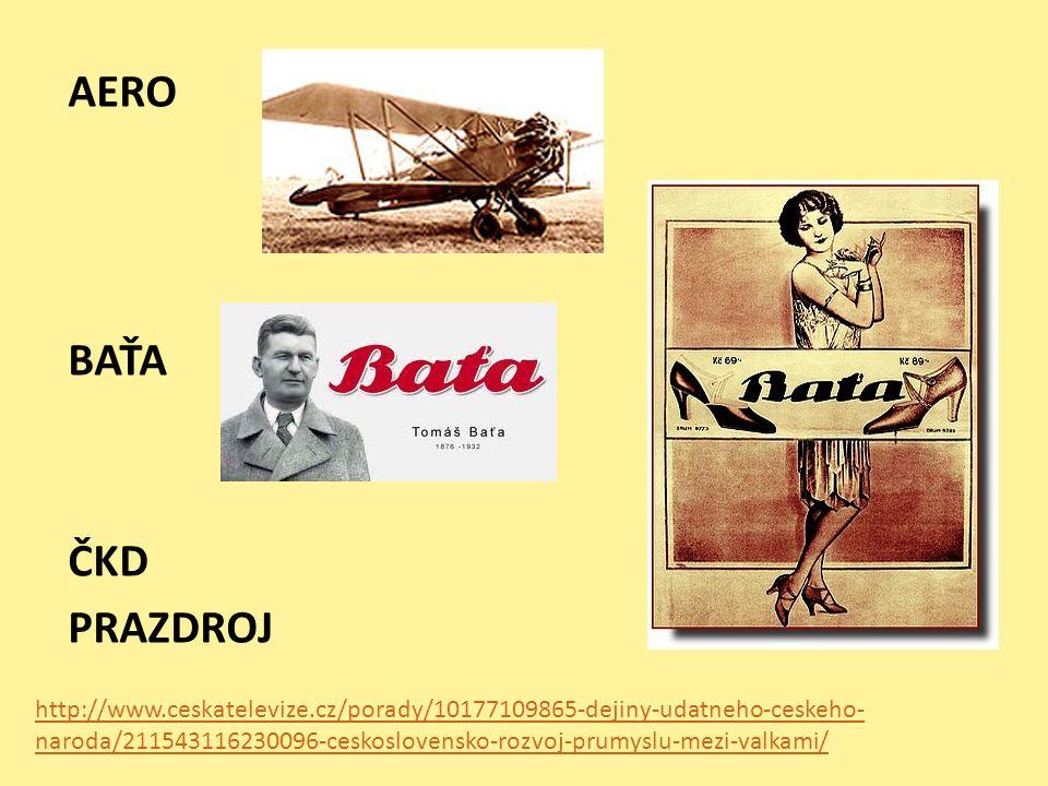 AERO BAŤA ČKD PRAZDROJ http://www.ceskatelevize.cz/porady/10177109865-dejiny-udatneho-ceskeho- naroda/211543116230096-ceskoslovensko-rozvoj-prumyslu-mezi-valkami/
