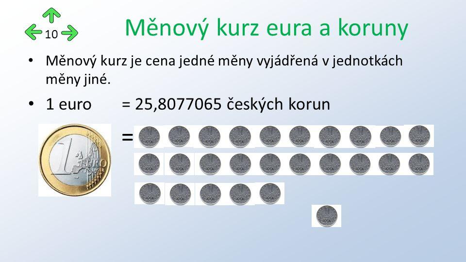 Měnový kurz je cena jedné měny vyjádřená v jednotkách měny jiné.