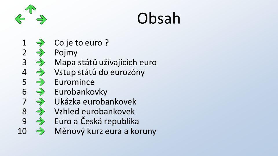 Obsah Co je to euro 1 Pojmy2 Mapa států užívajících euro3 Vstup států do eurozóny4 Euromince5 Eurobankovky6 Ukázka eurobankovek7 Vzhled eurobankovek8 Euro a Česká republika9 Měnový kurz eura a koruny10