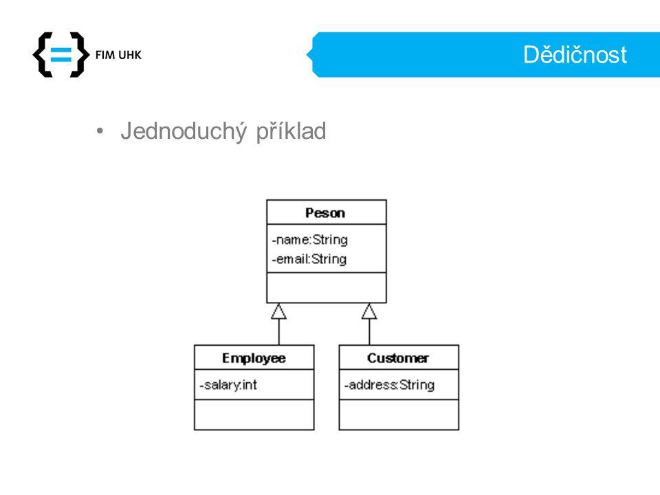Dědičnost Metody Jak dědičnost popsat pomocí relační databáze –Celá třída do jedné tabulky –Třída do jedné tabulky –Mapování hierarchie tříd do jedné tabulky