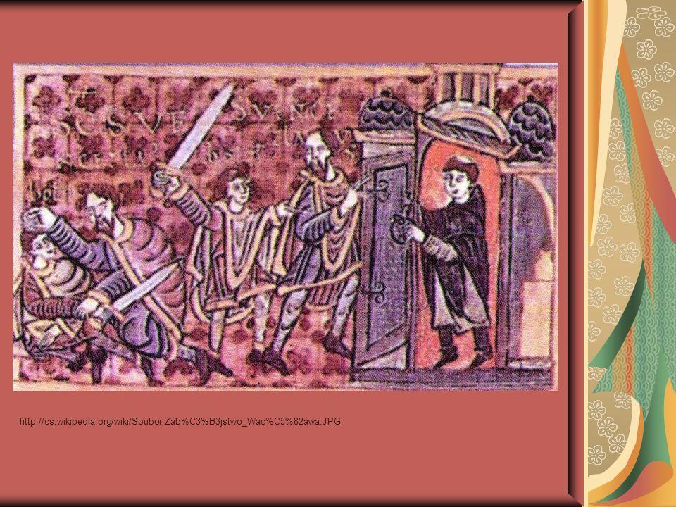 """Po smrti """" pro povahu svou vzácnou a zásluhy o upevnění víry Kristovy byl Václav prohlášen za svatého a stal se patronem (ochráncem) české země Za Karla IV."""