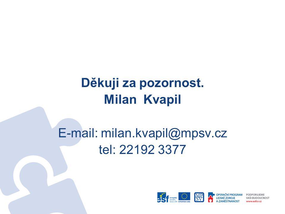 Děkuji za pozornost. Milan Kvapil E-mail: milan.kvapil@mpsv.cz tel: 22192 3377