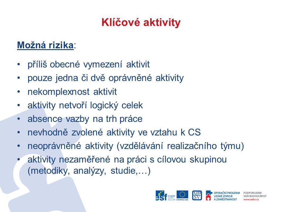Klíčové aktivity Možná rizika: příliš obecné vymezení aktivit pouze jedna či dvě oprávněné aktivity nekomplexnost aktivit aktivity netvoří logický cel
