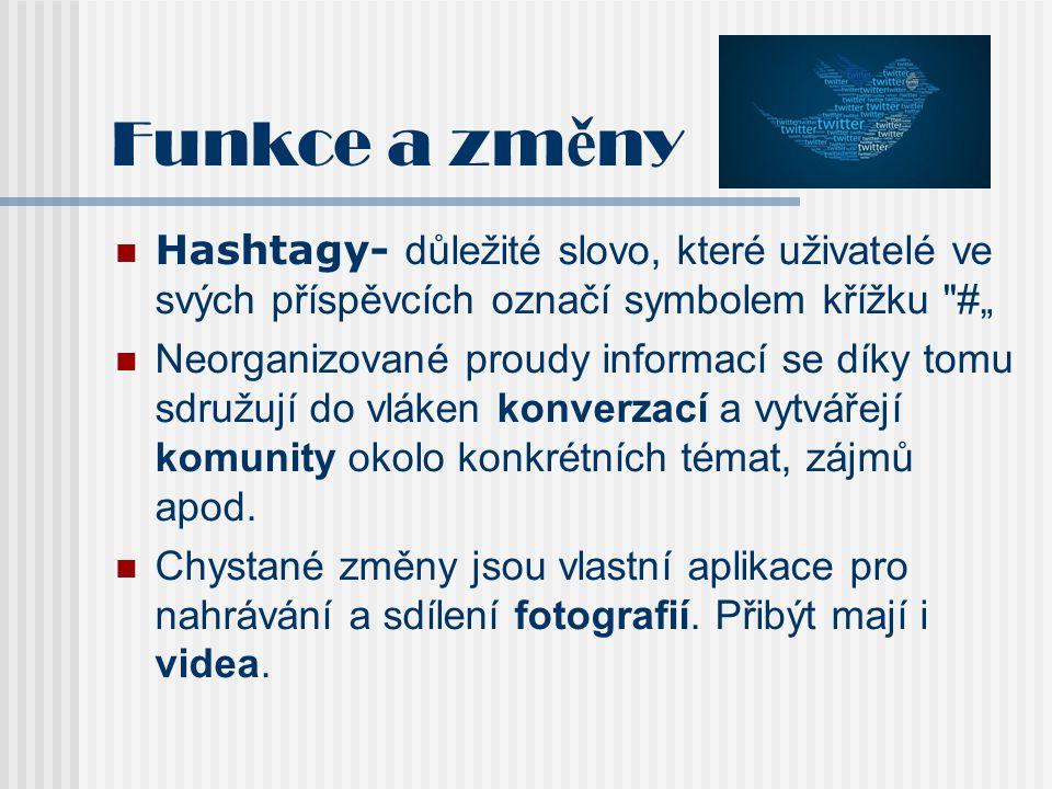 Funkce a zm ě ny Hashtagy- důležité slovo, které uživatelé ve svých příspěvcích označí symbolem křížku