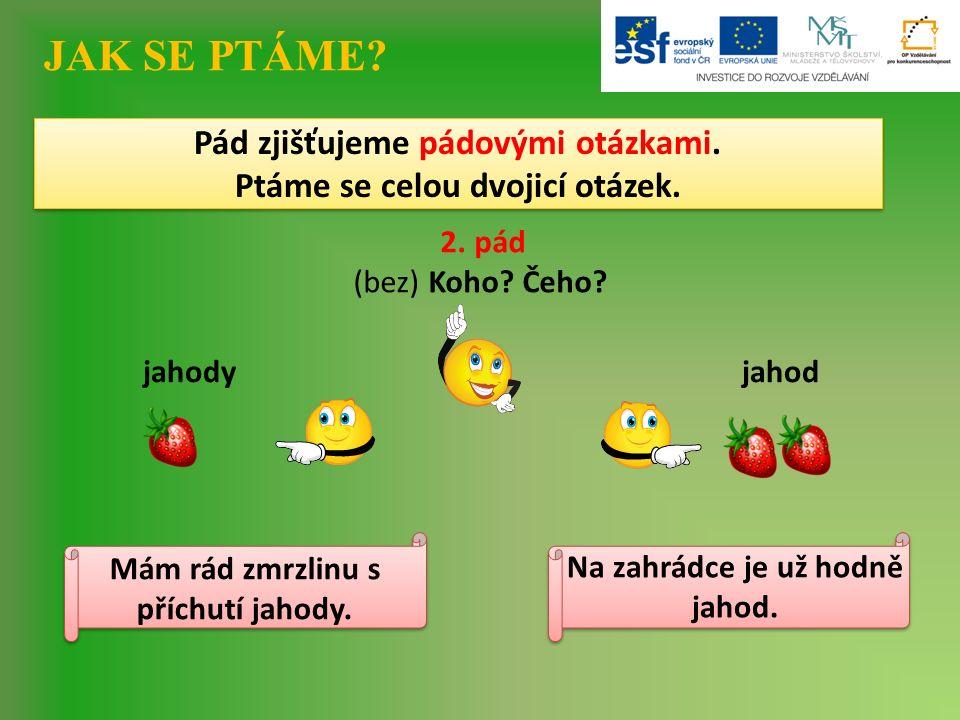 JAK SE PTÁME. 2. pád (bez) Koho. Čeho. jahody Pád zjišťujeme pádovými otázkami.