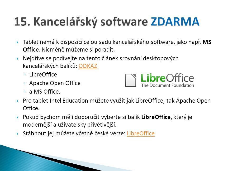  Tablet nemá k dispozici celou sadu kancelářského software, jako např.