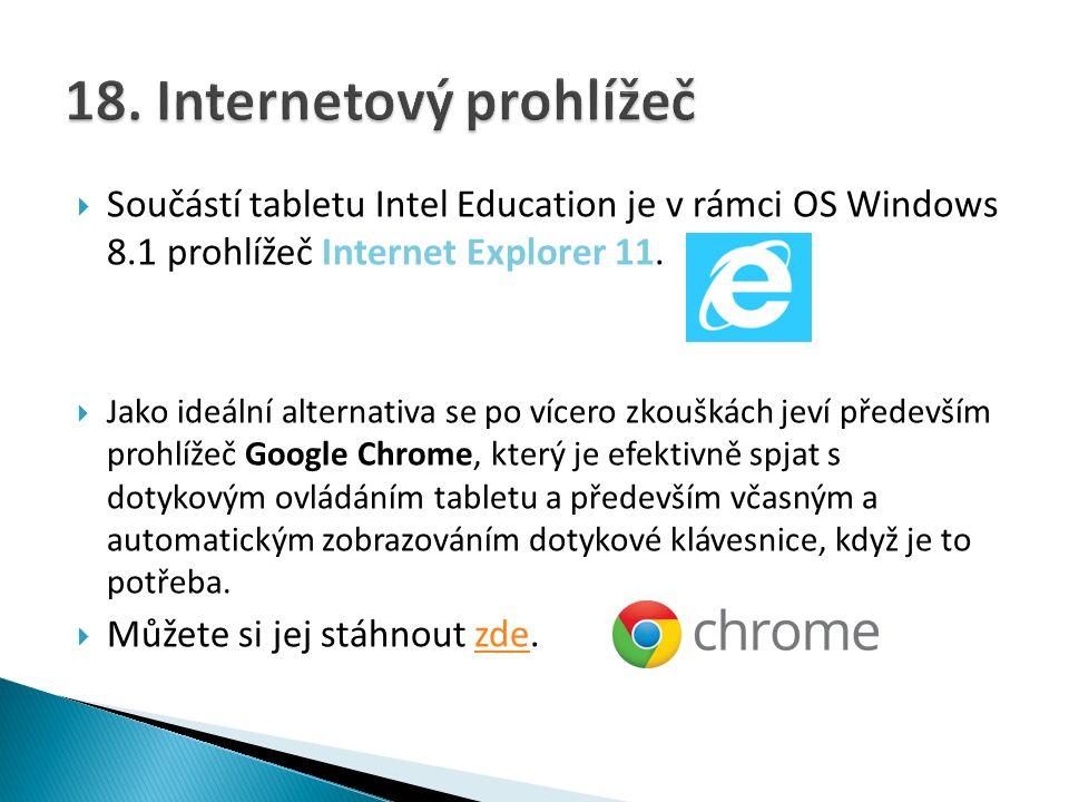  Součástí tabletu Intel Education je v rámci OS Windows 8.1 prohlížeč Internet Explorer 11.