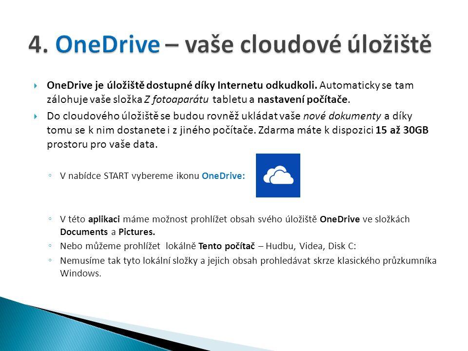  OneDrive je úložiště dostupné díky Internetu odkudkoli.