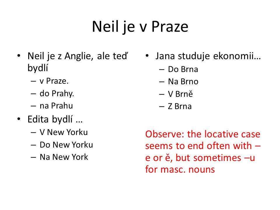 Neil je v Praze Neil je z Anglie, ale teď bydlí – v Praze.