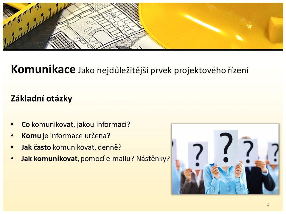 Komunikace Jako nejdůležitější prvek projektového řízení Základní otázky Co komunikovat, jakou informaci.