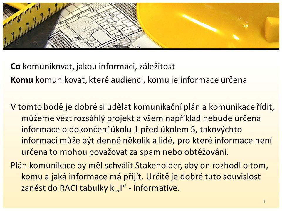 Co komunikovat, jakou informaci, záležitost Komu komunikovat, které audienci, komu je informace určena V tomto bodě je dobré si udělat komunikační plán a komunikace řídit, můžeme vézt rozsáhlý projekt a všem například nebude určena informace o dokončení úkolu 1 před úkolem 5, takovýchto informací může být denně několik a lidé, pro které informace není určena to mohou považovat za spam nebo obtěžování.