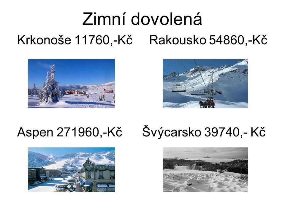 Zimní dovolená Krkonoše 11760,-Kč Rakousko 54860,-Kč Aspen 271960,-Kč Švýcarsko 39740,- Kč