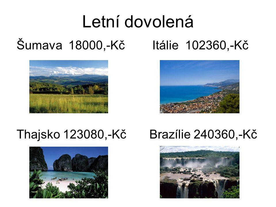 Letní dovolená Šumava 18000,-Kč Itálie 102360,-Kč Thajsko 123080,-Kč Brazílie 240360,-Kč