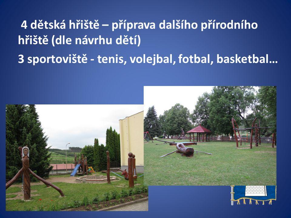 4 dětská hřiště – příprava dalšího přírodního hřiště (dle návrhu dětí) 3 sportoviště - tenis, volejbal, fotbal, basketbal…