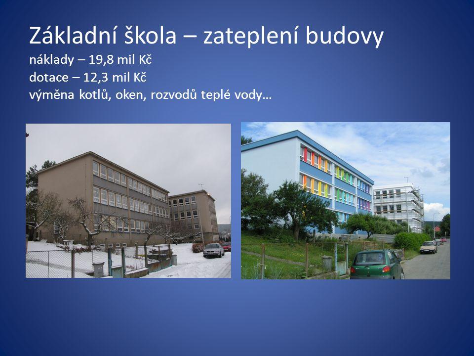 Základní škola – zateplení budovy náklady – 19,8 mil Kč dotace – 12,3 mil Kč výměna kotlů, oken, rozvodů teplé vody…