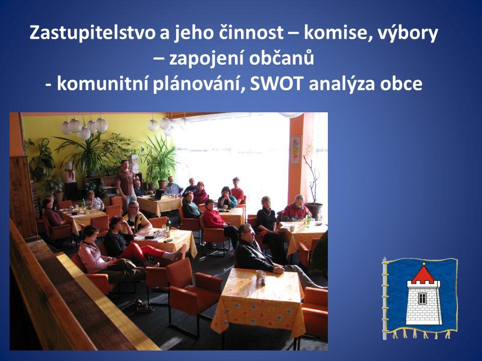Zastupitelstvo a jeho činnost – komise, výbory – zapojení občanů - komunitní plánování, SWOT analýza obce