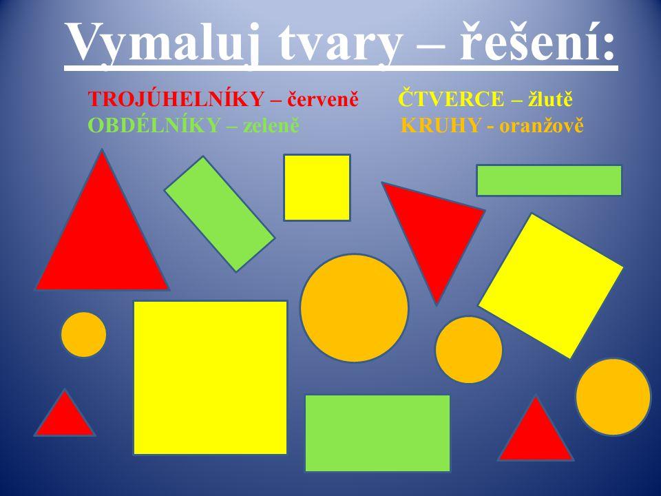 Vymaluj tvary – řešení: TROJÚHELNÍKY – červeně ČTVERCE – žlutě OBDÉLNÍKY – zeleně KRUHY - oranžově