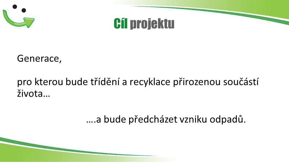 Cíl projektu Generace, pro kterou bude třídění a recyklace přirozenou součástí života… ….a bude předcházet vzniku odpadů.